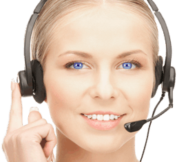 A beautiful blonde woman with a headset on, to represent a Davinci Virtual Receptionist.