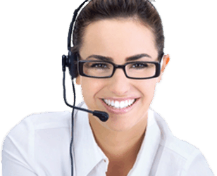 A beautiful woman wearing glasses with a headset on, to represent a Davinci Virtual Receptionist.