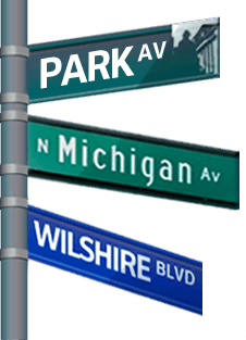 A street sign pointing to major streets to showcase the global availability of virtual office solutions.