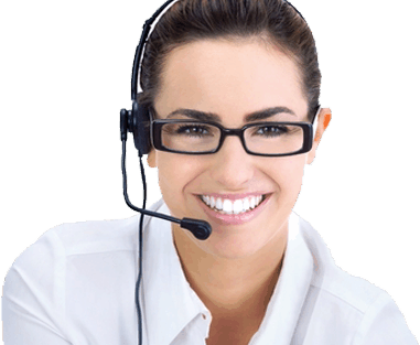 A dark-haired woman with glasses wears a headset to indicate the professionalism of  Davinci's virtual receptionist services.
