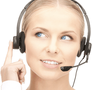 A beautiful blonde woman with a headset one to represent Davinci Virtual Office Solutions.